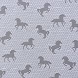 Gardinenstoff Dekostoff Pferd grafisch grau weiß 1,40m