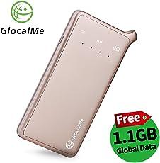 GlocalMe U2 4G LTE mobiler Wi-Fi Hotspot mobiler Wlan Router Global MiFi mit kostenlosen 1 GB globalen Daten, Simlock-frei, ohne Roaming-Gebühre, verwendbar in über 100 Ländern und Regionen, kompatibel mit Smartphones, Tablets, Laptops
