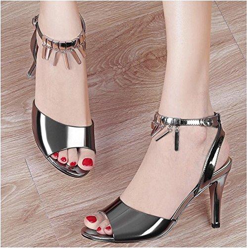 Lgk & fa estate sandali tacchi alti sandali da donna estate parola fibbia pesce bocca tacchi alti sottile e semplice donne scarpe, 38 gold 36 gun color
