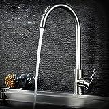 MDRW-Grifos de la cocina clásicaGrifo de fregadero giratorio universal de acero inoxidable, cocina dibujo caliente y frío grifos para lavabo, grifos de ahorro de agua de resistencia a la corrosión