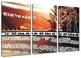 Frankfurtfür dich leben wir, 3-Teiler Format: 120x80, Bild auf Leinwand XL, fertig gerahmt