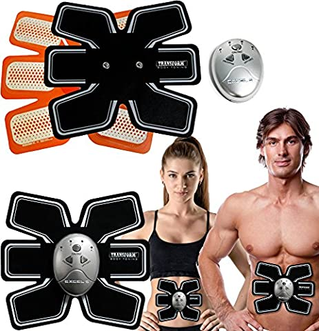 Gym Tracker Electronic 6 Pack Abdominal Fitness Muscle Toner Belt Exercise Easy Ab Toner Workout Trainer Machine Includes Excel 6 Remote and Settings for Various modes - Get Defined and Improved Abs!