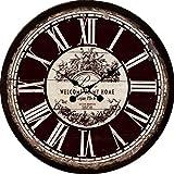 Wanduhr - Holz Küchenuhr mit großem Ziffernblatt aus MDF, Retro Uhr im angesagtem Shabby Chic Design mit leisem Quarz-Uhrwerk, Ø: 34 cm, Muster Uhr:Welcome