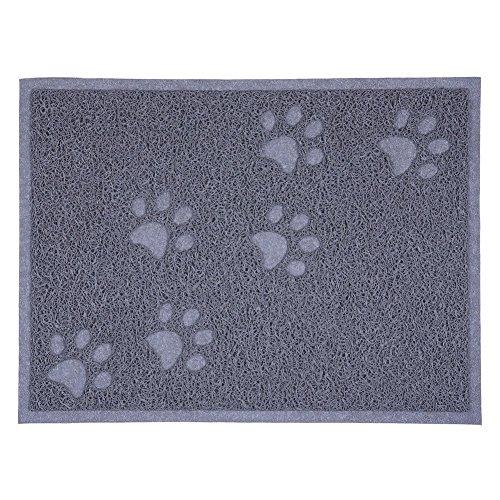 Estera de alimentación para mascotas S7 SEVEN de la caja de la basura del gato, animal doméstico que alimenta la estera Alfombra del plato del alimento Estera del tazón de fuente para el perro / perrito / gato / gatito 40 * 30cm (Gris)