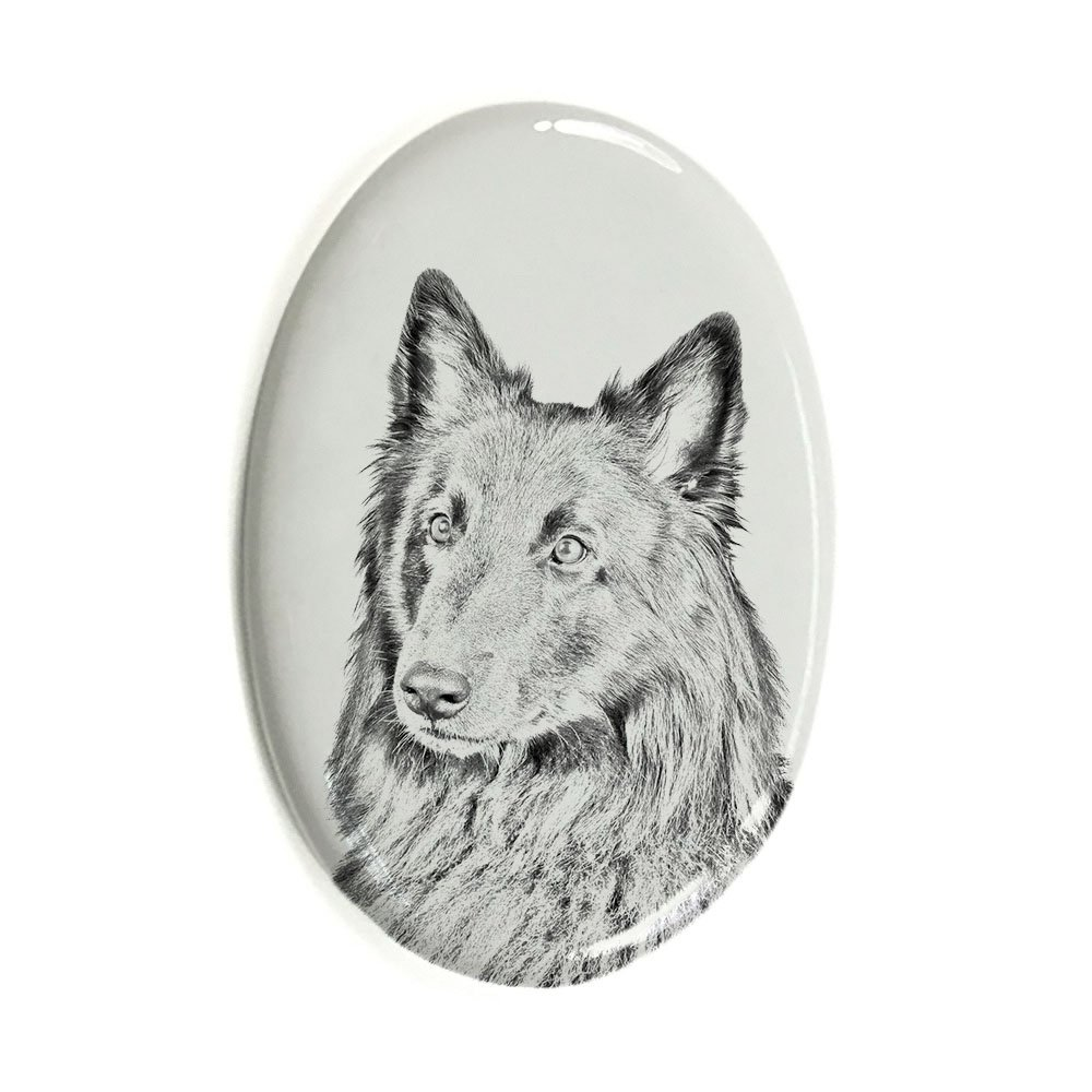 ArtDog Ltd. Belgian Sheepdog, oval gravestone from ceramic tile with an image of a dog