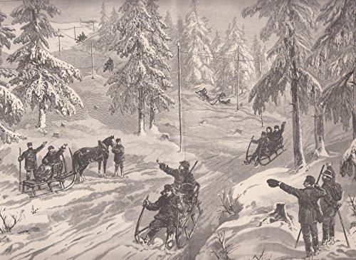 Riesengebirge - Hörnerschlittenfahrt im Riesengebirge. Idyllische Ansicht im tief verschneiten...