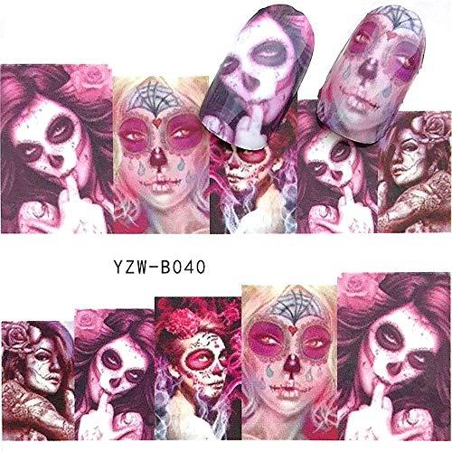 EROSPA® Nailart Nail-Tattoo Mexican Skull Motiv - Nagel Sticker - Aufkleber - 10 Motive - Selbstklebend -