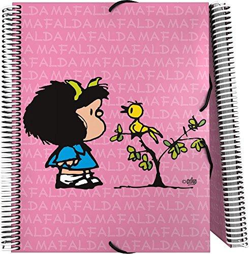 Grafoplás 39822149-Carpeta de fundas A4 con espiral, Diseño Mafalda Pajarito, 30 fundas transparentes y cierre de goma