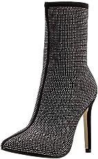 Wawer Damen High Heels Stiefel Wasserbohrer spitzen Stiefel Herbst Winter Frauen Stiefeletten Schuhe mit Seite Reißverschluss (37.5 EU, Schwarz)