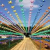 Molinetes de viento de plástico PVC, coloridos, para colgar como banderines, de Linxii. Ideales como decoración para cumpleaños, bodas, fiestas de jardines y escuelas, de Halloween y Navidad, 99Ft/30pcs