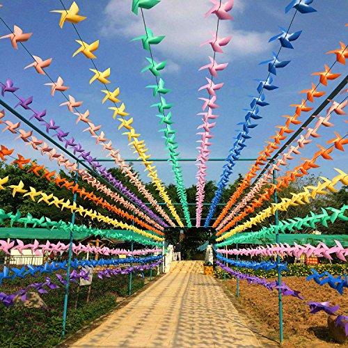 linxii 98,5 FT/30 Stück DIY Colorful Windmühlen Flagge, PVC Deko Flagge für Geburtstag Hochzeit Halloween Weihnachten Garten Schule Party