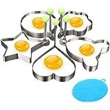 Cyleibe 5 Stück Spiegeleiform Edelstahl Bratring, Edelstahl Eier Pochringe mit Silikongriffen Verschiedene Formen Eierringe f