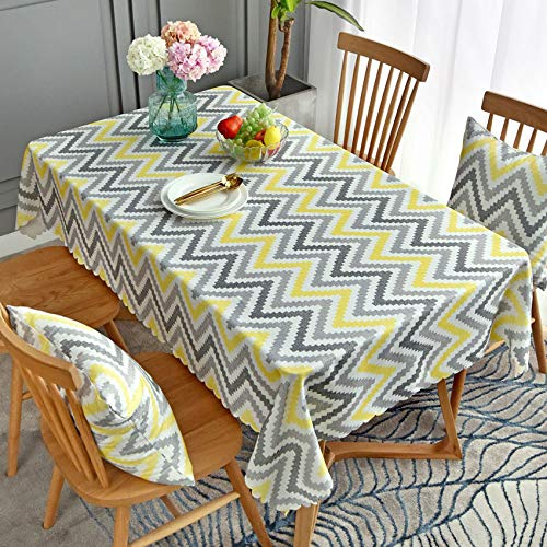 wzwlh Modern Minimalist Wavy Striped Dining Tablecloth Round Tablecloth Rectangular Coffee Table Cloth Outdoor Patio Manteles Tapete90*150 (4 Stück Patio-möbel)