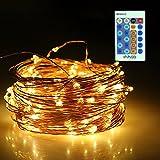 InnooLight 20m 200er LED Lichterkette Warmweiß Wasserdicht und Dimmbar Lichterkette Kupferdraht 5V 1A | LED Lichterkette Innen mit 0,3 M Zuleitungskabel und 24-Tasten Fernbedienung als Led Lichterkett