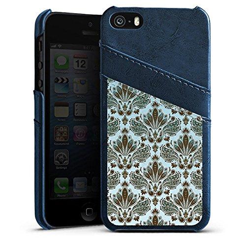 Apple iPhone 4 Housse Étui Silicone Coque Protection Rétro Ornements Motif Étui en cuir bleu marine