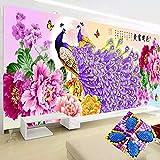 EXQUILEG 5D Full Bohrer Diamant Gemälde Pfau und Blumen Special Shaped Diamant Malerei Kristall Wandkunst Handwerk für Heimtextilien