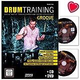 Drum Entraînement Groove–Le Programme d'entraînement ultime pour percussions de Martin Trèfle–Livre d'apprentissage avec CD, DVD et cœur Note Pince