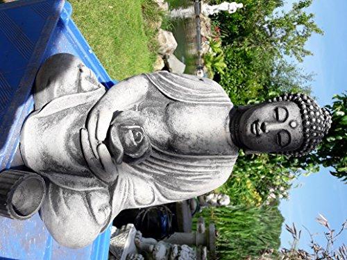 Der Buddha im Garten - Buddha Rama mit Rose als Kerzenhalter ca. 12 Kg. schwer in Steinguss zu Weihnachten verschenken