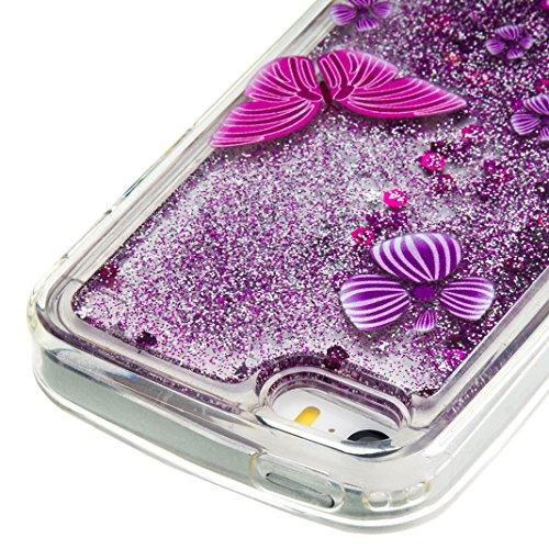 """iPhone 5S Coque, iPhone 5 etui, Rosa Schleife® iPhone SE / 5S / 5 TPU 3D Liquide glitter Étui paillette Housse Ultra Slim Protection Case Cristal Silicone Gel Bumper avec Quicksands pour 4"""" Apple iPho Violet - 2"""
