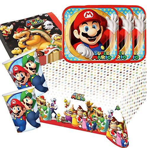 Preisvergleich Produktbild 37-teiliges Party-Set Super Mario - Teller Becher Servietten Tischdecke für 8 Kinder