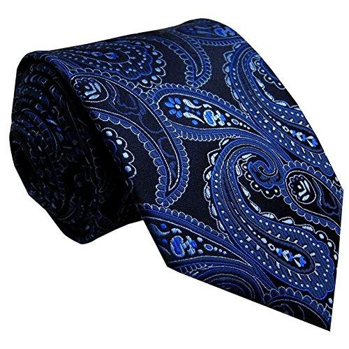 Preisvergleich Produktbild Designer Krawatte aus Seide in schwarz mit blau eisblauen Paisley