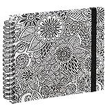 """Hama Spiral-Buch """"Colorare"""" (Buch mit 50 Weißen Seiten und Spiralbindung, mit Blumen-Design Zum Ausmalen, Format 28x24cm) Fotobuch/Foto-Album Schwarz-Weiß"""