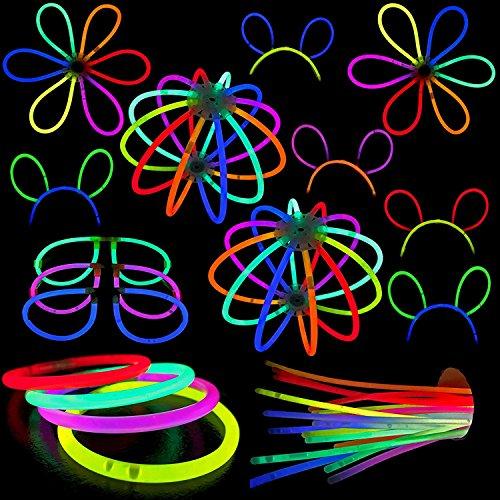 y Pack–PREMIUM KIT, inklusive Zubehör schaffen zu 50Armbänder–5Bunny Ohren–5Gläser–3Glow Bälle oder 6Blumen–4Triple Armbänder–20,3cm Glow Sticks (Halloween-requisiten Zum Verkauf)