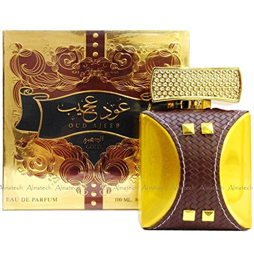 Oud Ajeeb por el oro de Oudh al Anfar Fragancia Halal Attar Perfume Spray,  100 ml