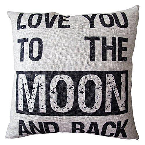 Onker Baumwolle Leinen Quadratisch dekorativer Überwurf-Kissenbezug 45,7x 45,7cm Zitate Love You To The Moon And Back