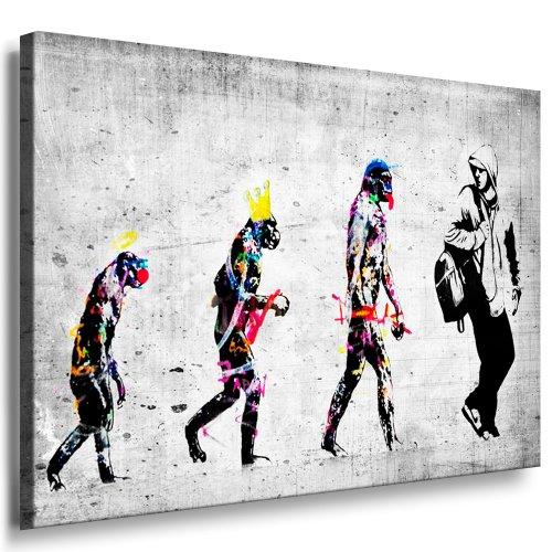 Banksy Evolution–Impression sur toile montée sur...