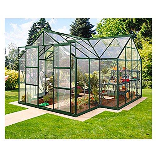 Alu-Gewächshaus Sirius ESG grün Wintergarten 13 m² Orangerie inkl. Fundament
