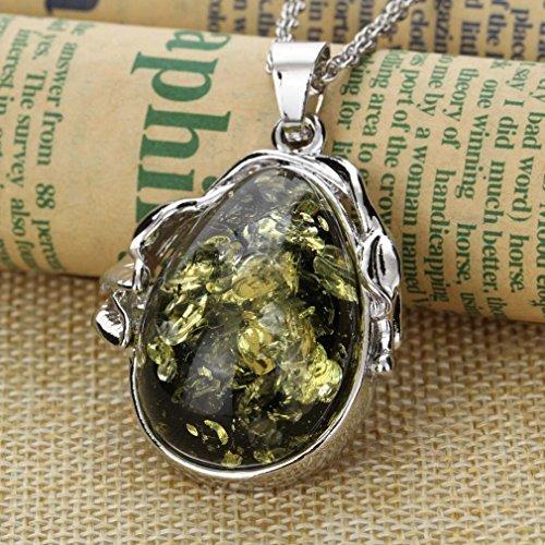 YAZILIND Forme Charm eau Femmes plaqué or Collier pendentif Ensemble de bijoux vert