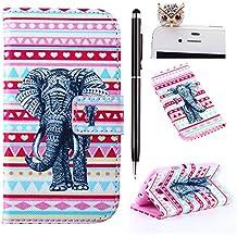 Felfy Stripes Elefante Diseño PU Cuero Billetera Funda Flip Carcasa Para Samsung Galaxy S3 i9300 + 1x Rojo Búho Enchufe del Polvo + 1x Negro Lápiz Táctil