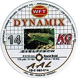 WFT Round Dynamix Aal braun 160m, geflochtene Schnur fürs Aalangeln, Raubfischschnur, braune Angelschnur, Aalschnur, Durchmesser/Tragkraft:0.14mm / 14kg Tragkraft