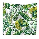 Tapestry Wandbehang, Grüne Tropische Blätter Natürliche Palm Blätter Bananenblatt Pflanze Wand Kunst Zimmer Dekoration Decke,D,59X51.1In
