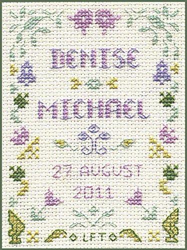 Cross Stitch Kit on 14 aida with clear colour chart Mini Wedding Sampler