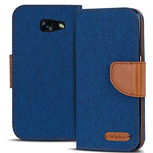 Conie TW28212 Textil Wallet Kompatibel mit Samsung Galaxy A3 2017 (A320), Textil Hülle Klapptasche mit Kartenfächer Etui Slim Cover für Galaxy A3 2017 (A320) Handyhülle Jeans Blau