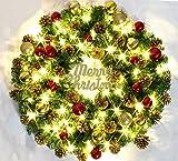 Brinny 45cm Weihnachtskranz Türkranz Kranz Weihnachtsdeko Weihnachtengarland Gold