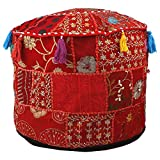 Aakriti Gallery Indian Pouf Footstool Ethnic Embroidered Pouf Cover, Indian Cotton Round Pouffe...