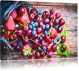 köstliche Früchte im Korb Format: 80x60 auf Leinwand, XXL riesige Bilder fertig gerahmt mit Keilrahmen, Kunstdruck auf Wandbild mit Rahmen, günstiger als Gemälde oder Ölbild, kein Poster oder Plakat