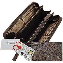 Große Vollleder Damen Geldbörse mit wunderschönem Lianen Muster in Hoch Tief Prägung Reißverschluss rundherum in Braun oder Taupe inkl. Nähset