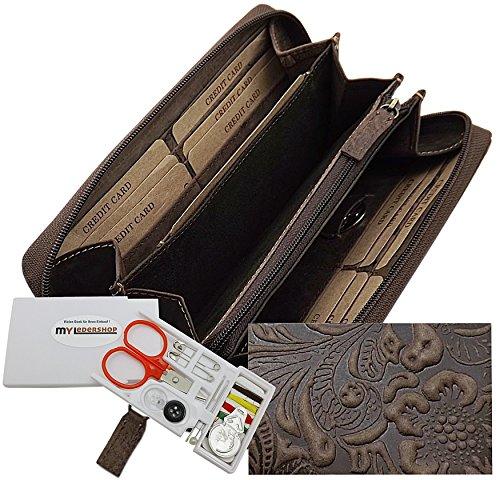 Große Vollleder Damen Geldbörse mit wunderschönem Lianen Muster in Hoch Tief Prägung Reißverschluss rundherum in Braun oder Taupe inkl. Nähset (Braun)