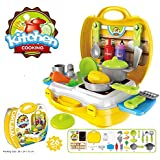 KP SALES 26 Piece Kitchen Set Suitcase Carry Case Set For Kids To Play Roll For Chef, Yellow Suitcase
