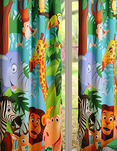 Jungle Animals Curtains – Set of 2 Curtain Panels for a Baby Nursery or Toddler or Kids Bedroom – 121 cm x 213 cm panels – Blackout Poly Satin Fabric