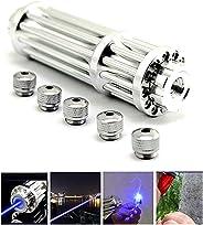 NEWBLANCE Waterproof Portable High Power Light Pointer Flashlight Torch 450nm Adjustable Focus with 5 Caps Beam Pen Flashligh