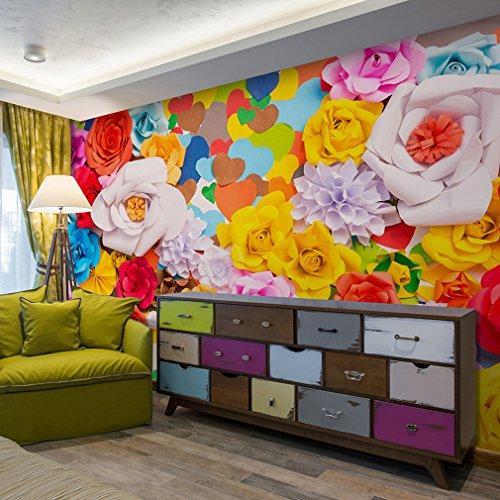 decomonkey| Fototapete Blumen Herz 3d 400x280 cm XXL | Design Tapete | Fototapeten | Tapeten | Wandtapete | moderne Wanddeko | Wand Dekoration Schlafzimmer Wohnzimmer | bunt rosa gelb | FOB0001b84XL