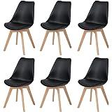 DORAFAIR Lot de 6 Chaise Scandinave Chaise à Manger Rétro Classique avec Assise rembourrée et Pieds en Bois de hêtre Massif,