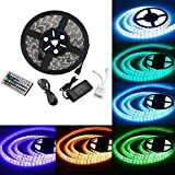 SDC 15M(5MX3) LED Strip 90W IP65 5050 450SMD LED RGB Lichtbänder Flexible LED Streifen Band mit EU Power Supply Adapter+44 Key Fernbedienung+Netzteil 12V + Empfänger + Amplifier