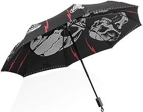 ISAOA Automatischer Reise-Regenschirm, kompakt, faltbar, mit Totenköpfen und Knochen, Winddicht, Ultraleicht, UV-Schutz, Regenschirm für Damen und Herren