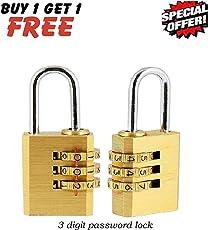 Unique Gadget 3 Digit Metallic Number Lock Small Bag Lock Travel Lock Luggage Re-Settable Password Locks Combination Padlock - LOCKCR404